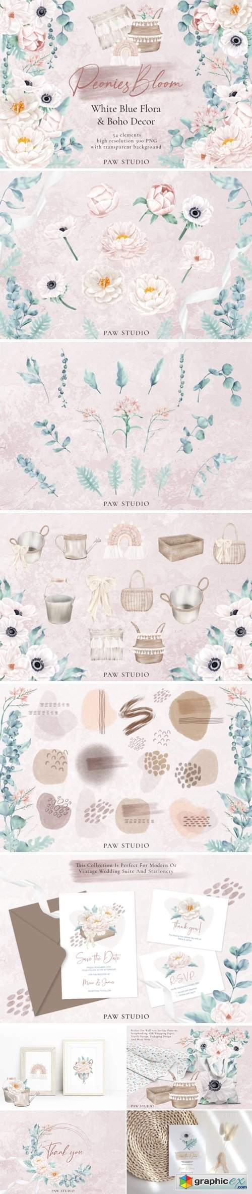 Boho White Peonies Flowers Home Clipart