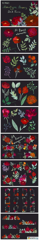 Dark Theme Monotype Flowers