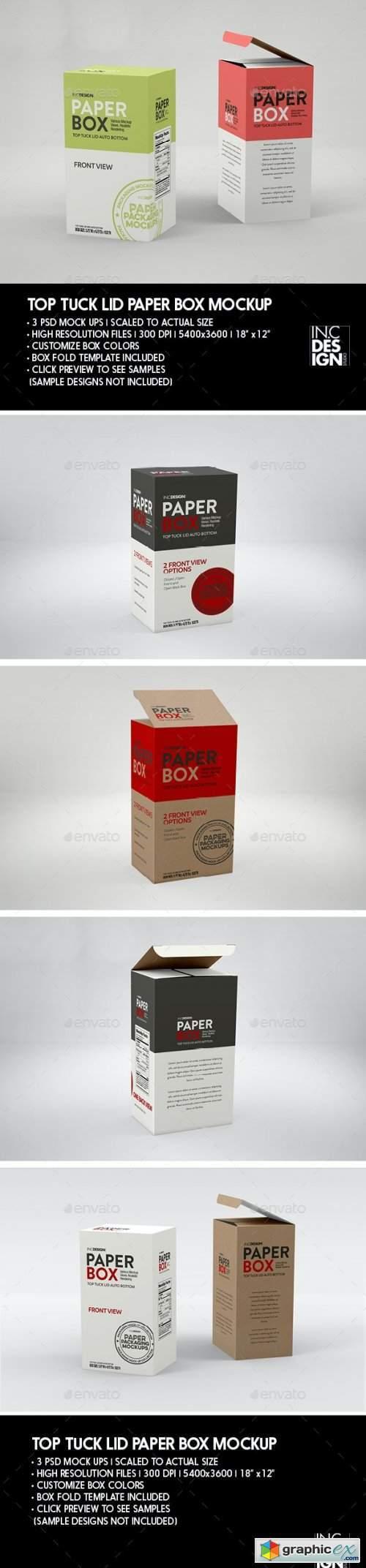 Paper Top Lid Tuck Box Packaging Mockup