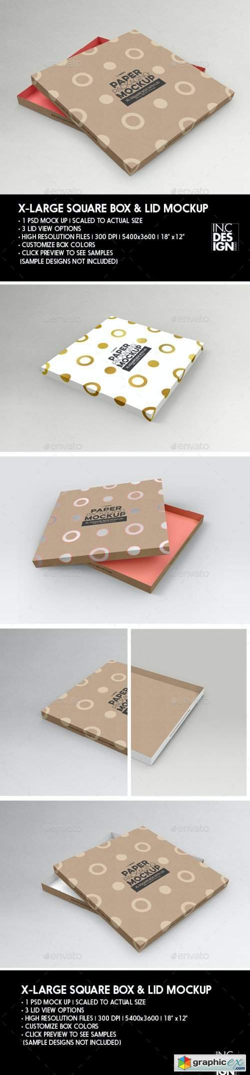 Paper XL Square Box and Lid Packaging Mockup