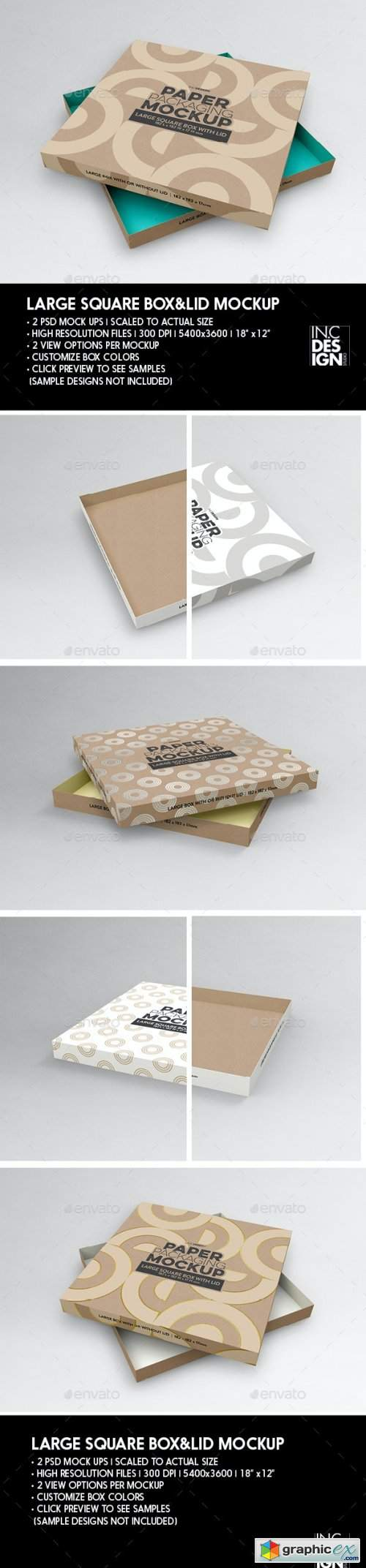 Large Square Paper Box and Lid Packaging Mockup