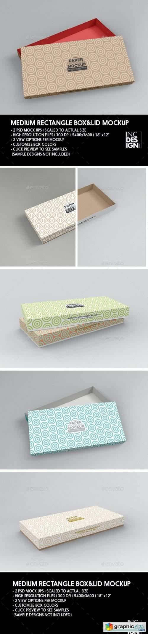 Medium Rectangular Paper Box and Lid Packaging Mockup