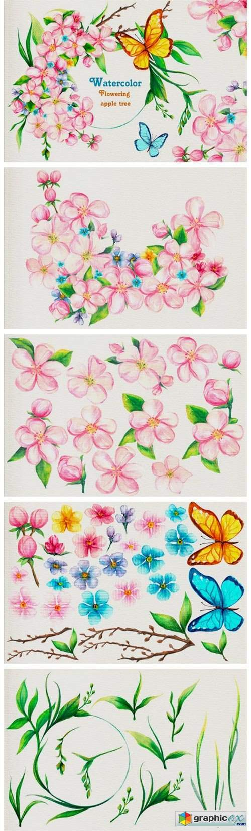 Watercolor Flowering Apple Tree Big Set
