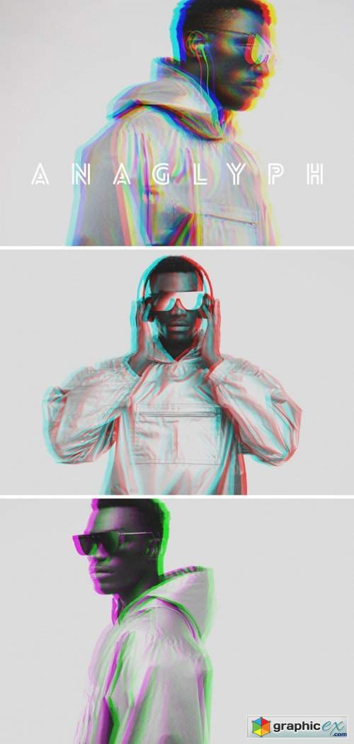 Duo Color Anaglyph Mockup Effect