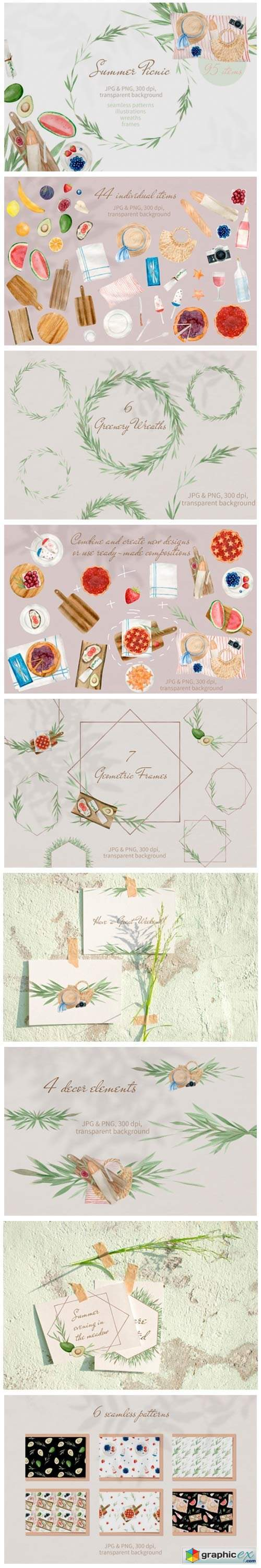 Summer Picnic Watercolor Clipart Set PNG