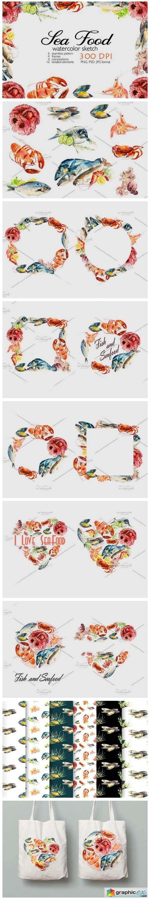 Watercolor Seafood