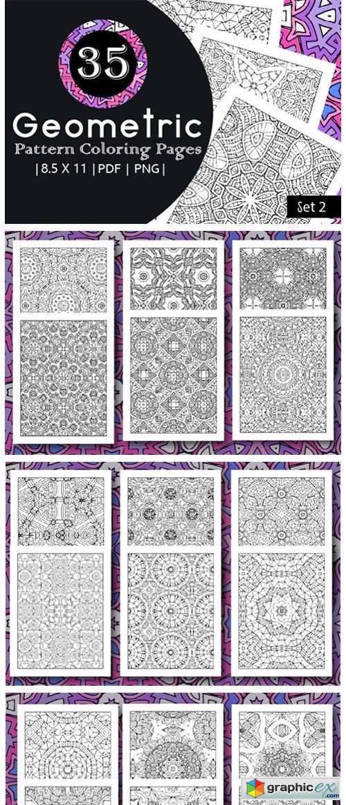 35 Geometric Pattern Coloring Set 2
