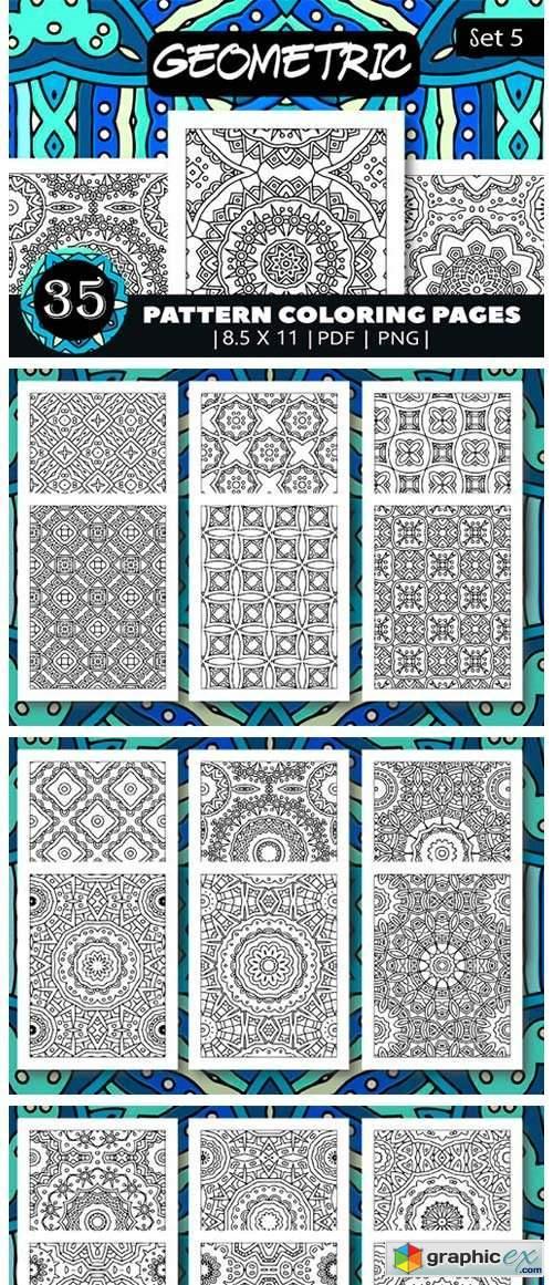 35 Geometric Pattern Coloring Set 5