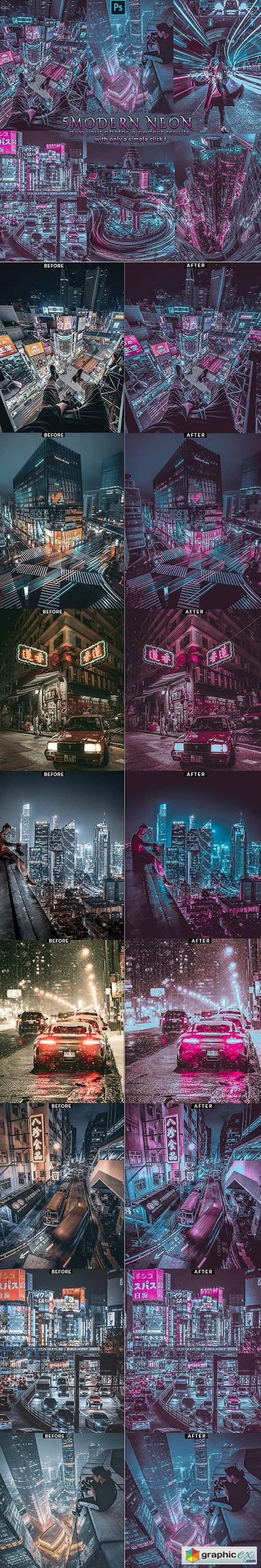 Modern Neon - Blogger Insta Photoshop Actions