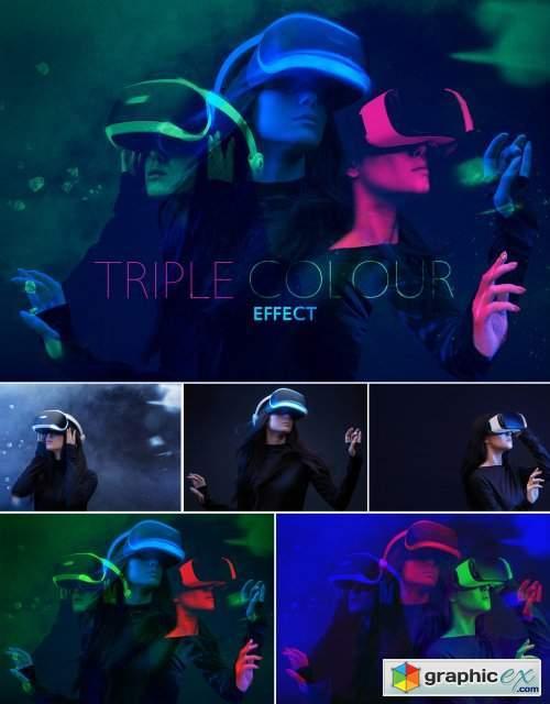 Triple Color Double Exposure Effect Mockup