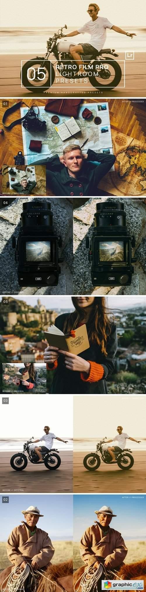5 Retro Film Pro Lightroom Presets + Mobile