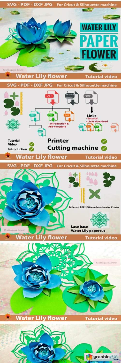 Water Lily Paper Flowers Template
