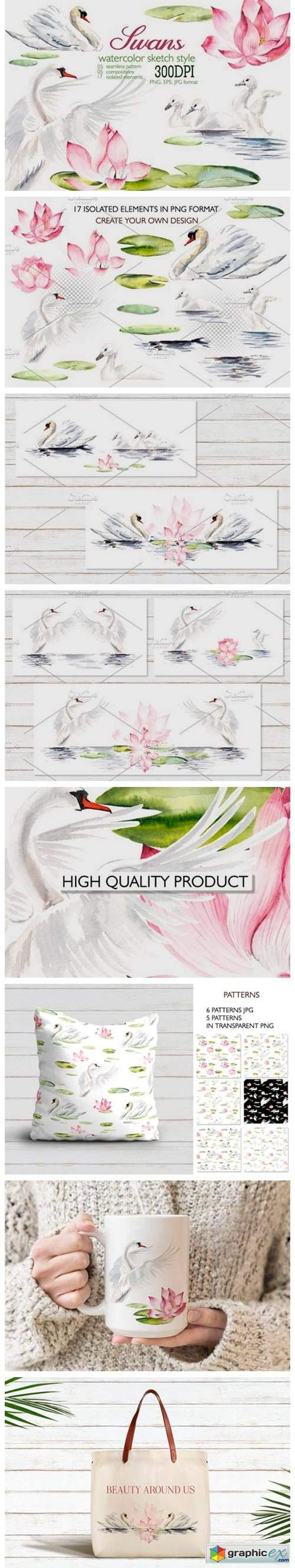 Watercolor White Swans with Pink Lilies