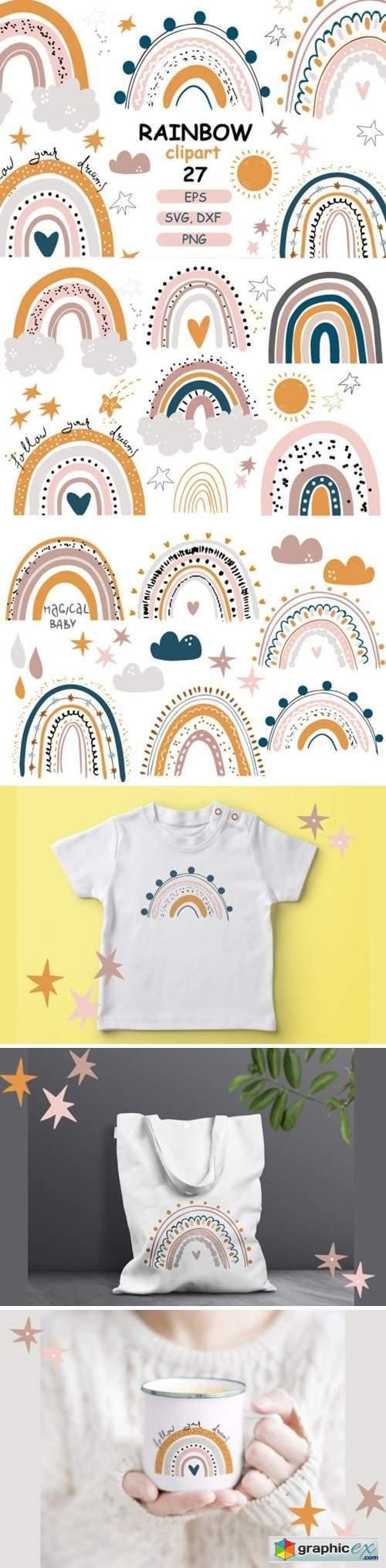 Rainbow Baby Pastel Clipart