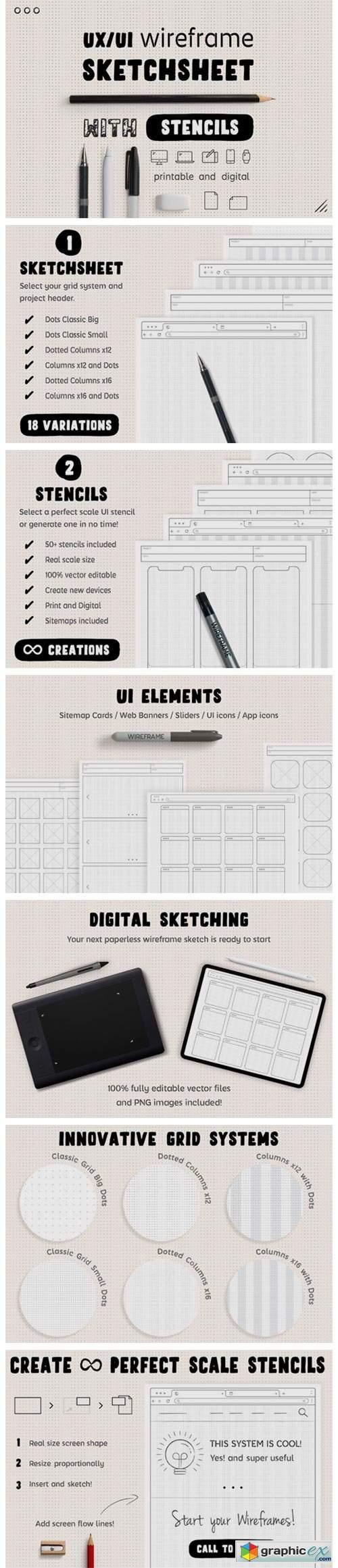 Wireframe Sketchsheet with Stencils