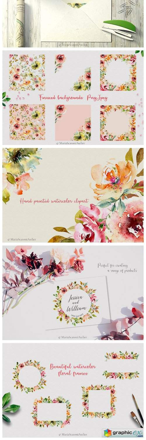 Watercolor Flowers - Summer Garden
