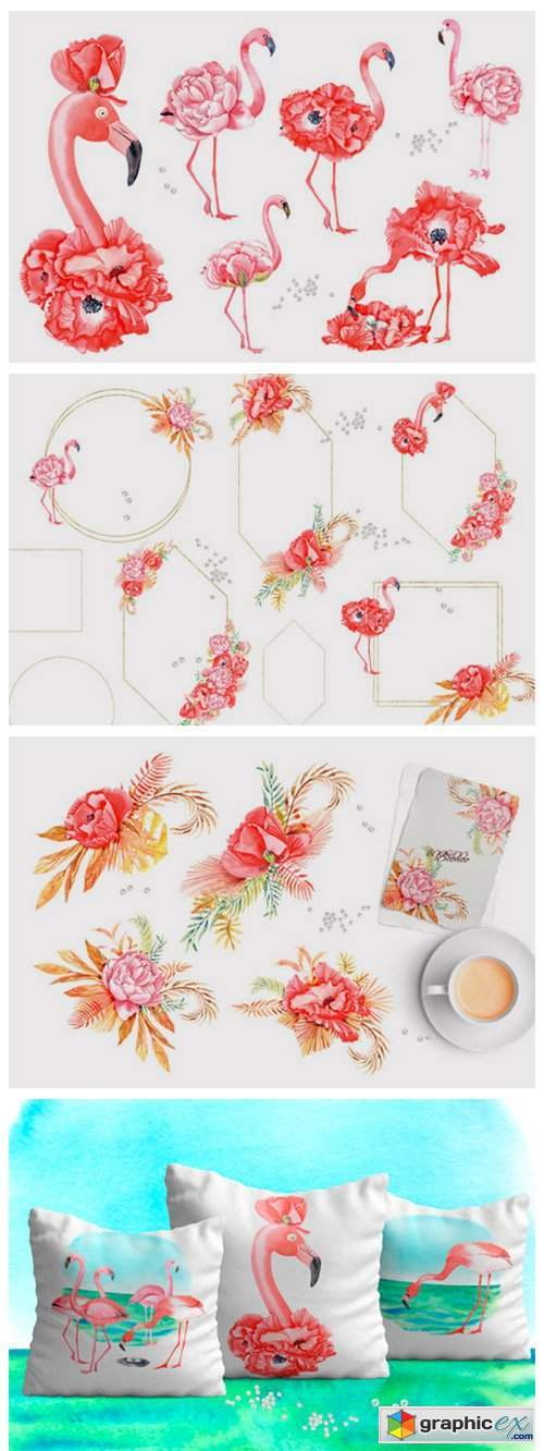 FLAMINGOS and FLOWERS Watercolor Clipart