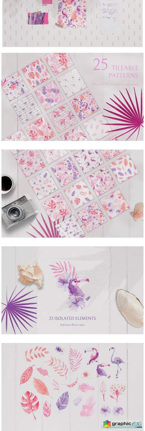 Pink Tropics Patterns