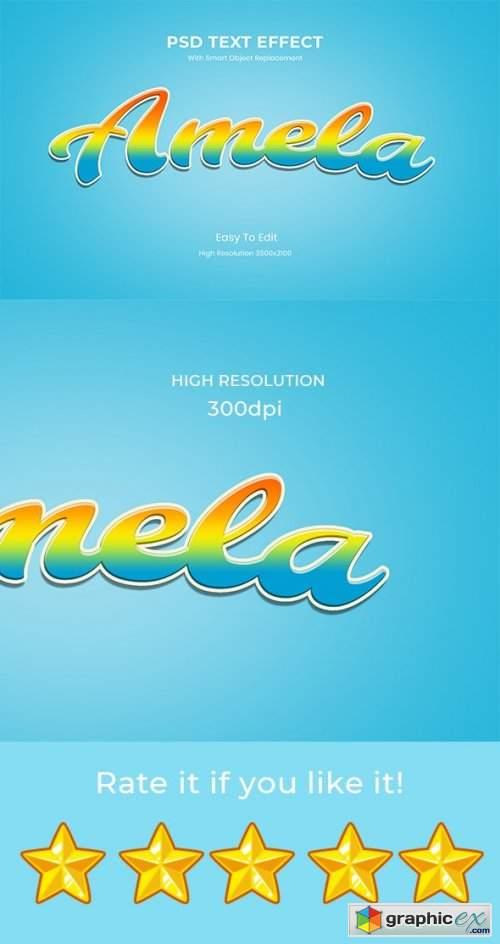 Amela - 3D game Logo Rainbow Text Effect