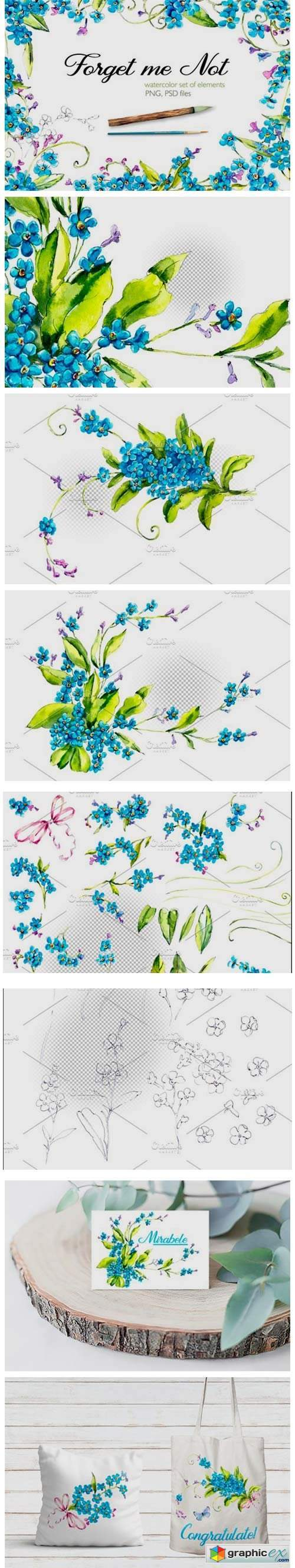 Watercolor Forget-me-nots Cliparts