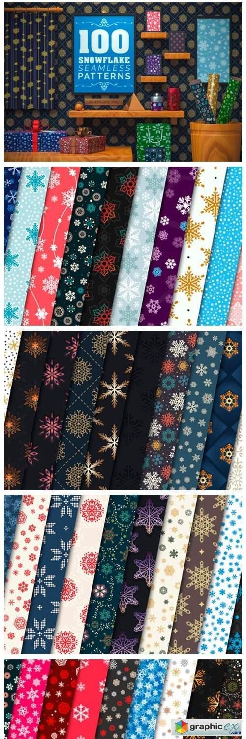 100 Snowflake Seamless Patterns