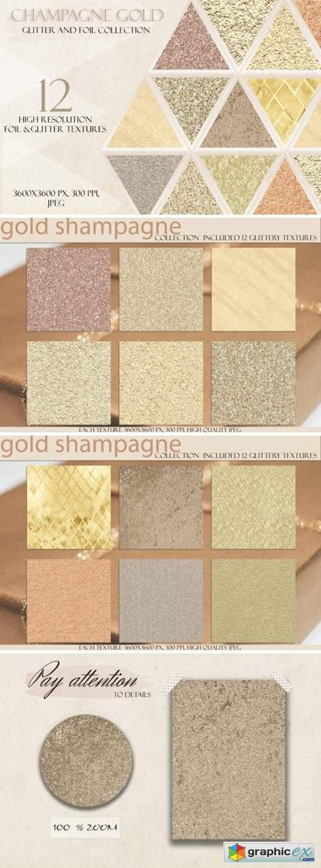 Champagne Gold Glitter Digital Paper