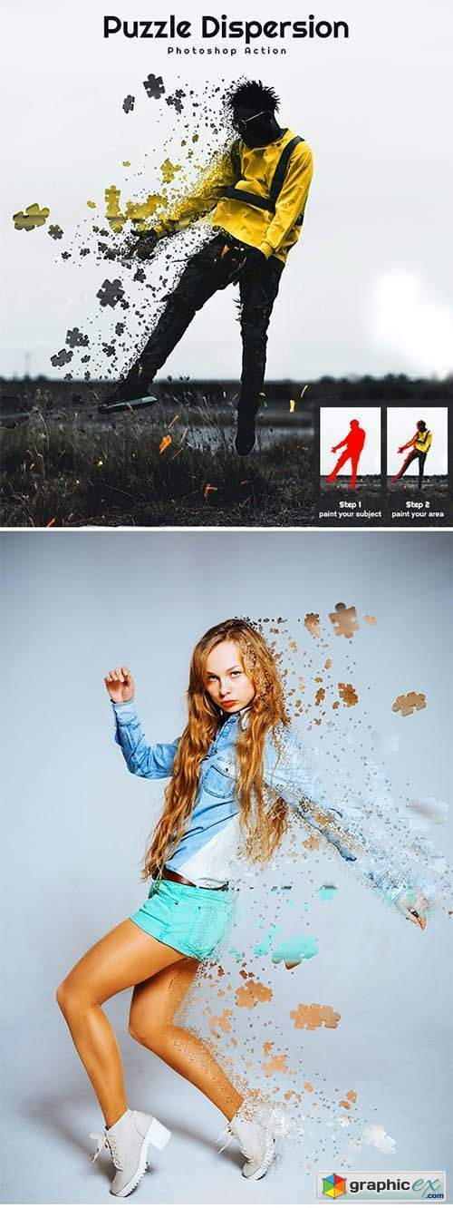 Puzzle Dispersion Photoshop Action