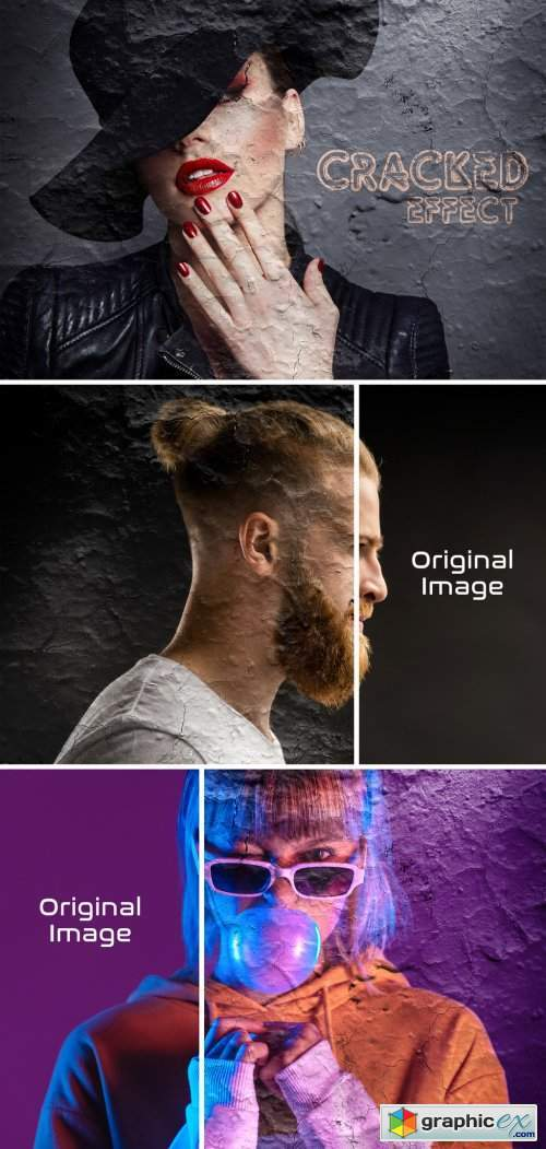 Cracked Photo Effect Mockup