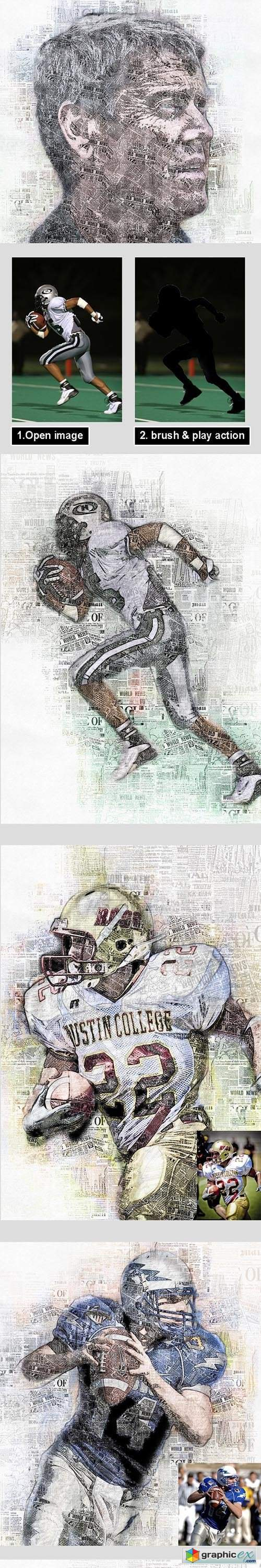 Newspaper Art Photoshop Action Vol 2
