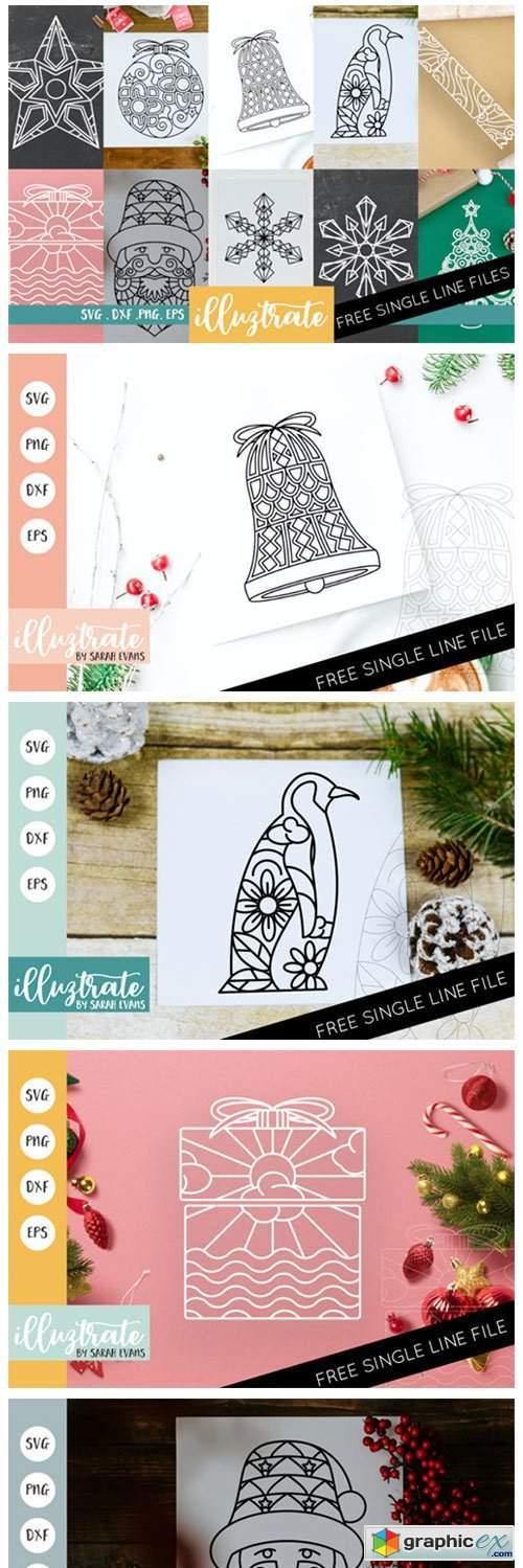 Christmas Mandala Bundle Cut Files