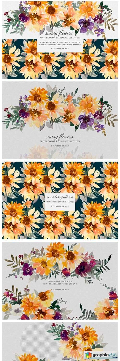 Watercolor Sunflower Clipart Collection