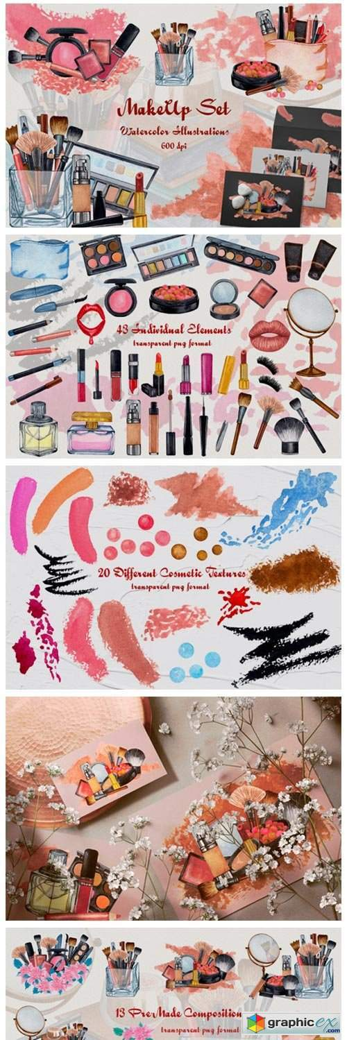 Watercolor Make Up ClipArt