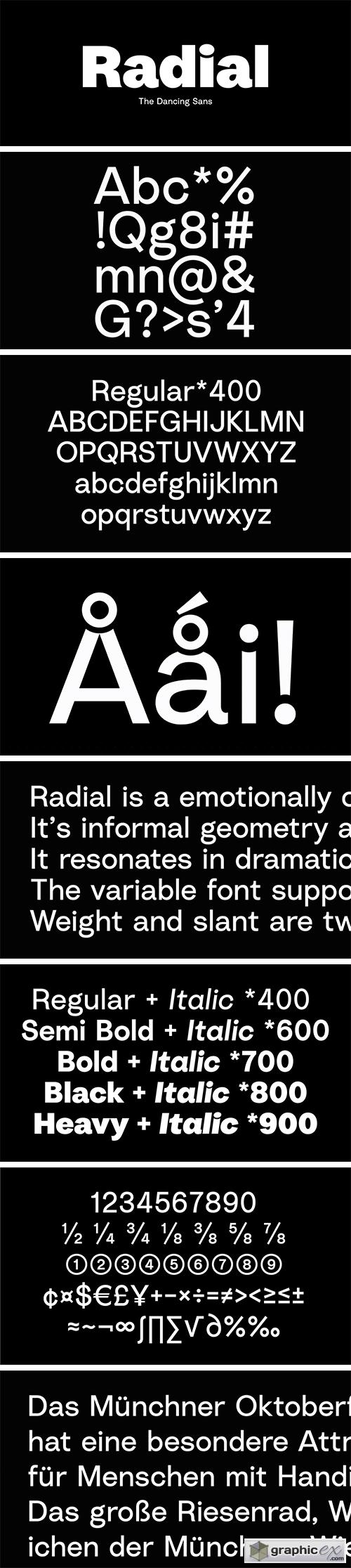 Radial Font Family