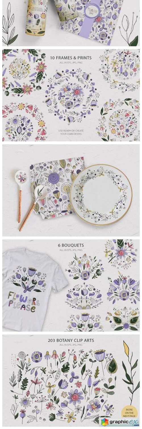 Summer Botany. Floral Graphic Pack.