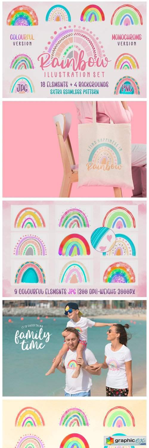 Rainbow Illustration Set