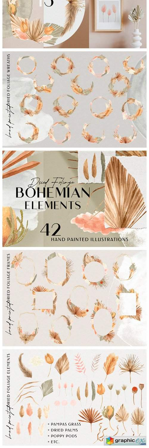 Bohemian Dried Foliage Illustration Pack