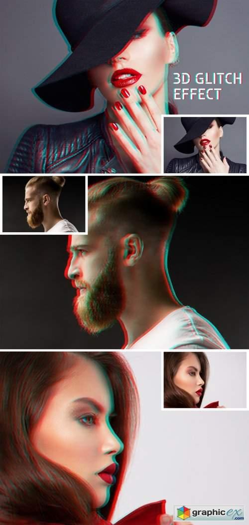 Glitch Photo Effect Mockup