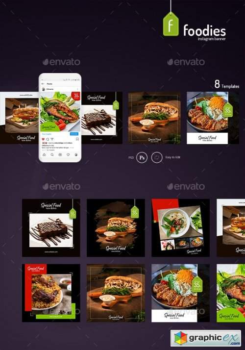 Foodie – 8 Instagram Template