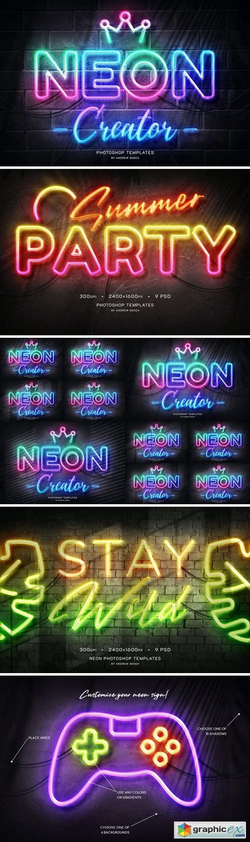 Neon Wall Sign Templates