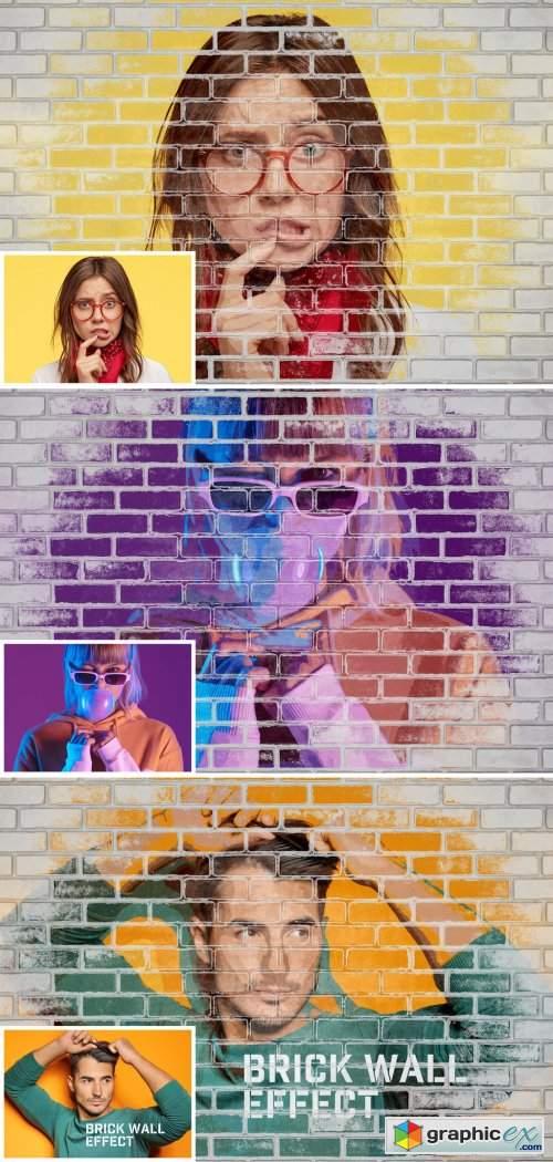 Brick Wall Photo Effect Mockup