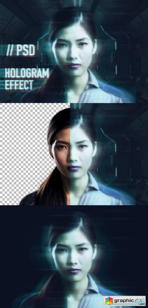 Photo Hologram Effect Mockup
