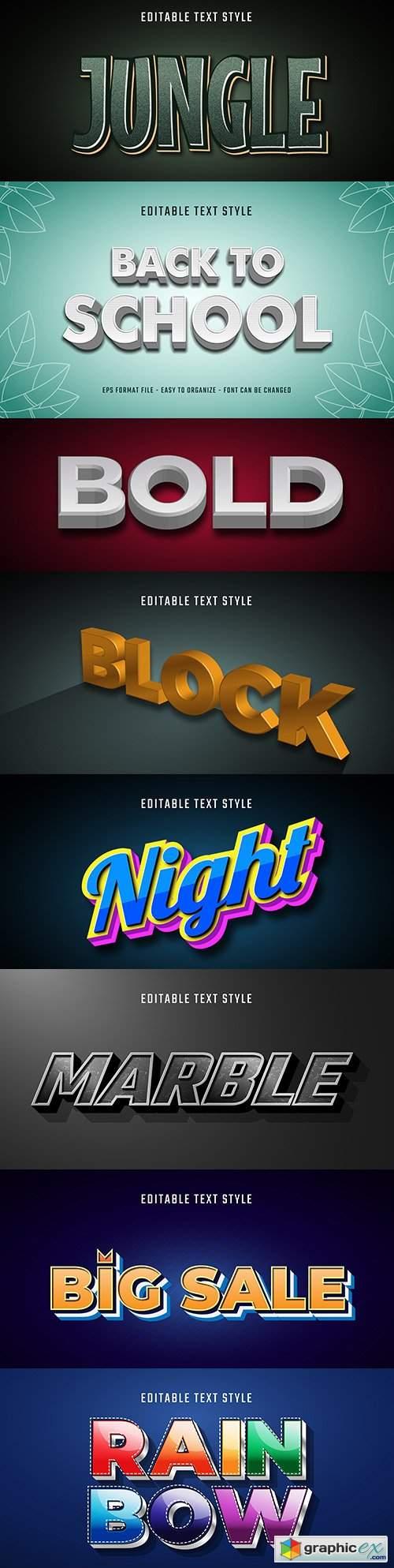 Editable font effect text collection illustration design 154