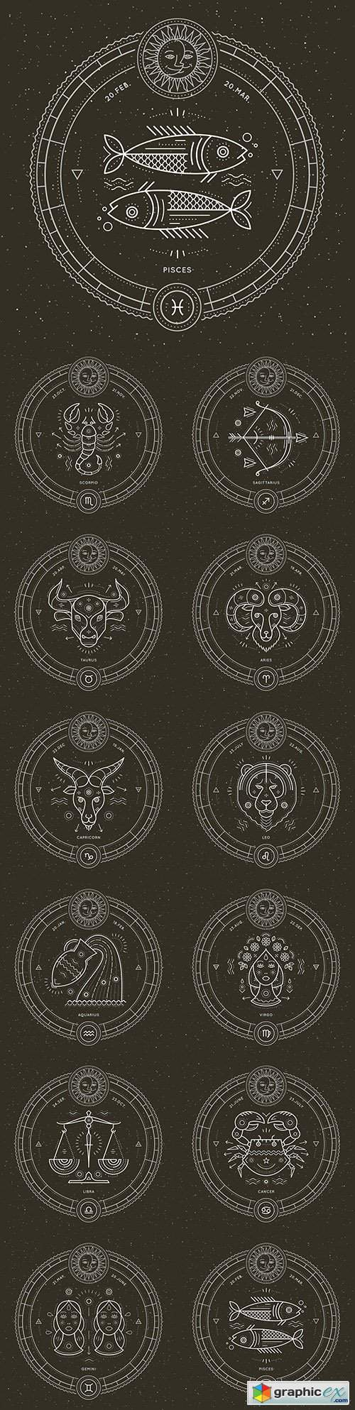 Zodiac sign retro astrological symbol and emblem illustration