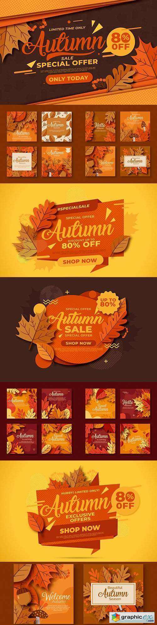 Vintage autumn sale and collection of cards with bright leaves