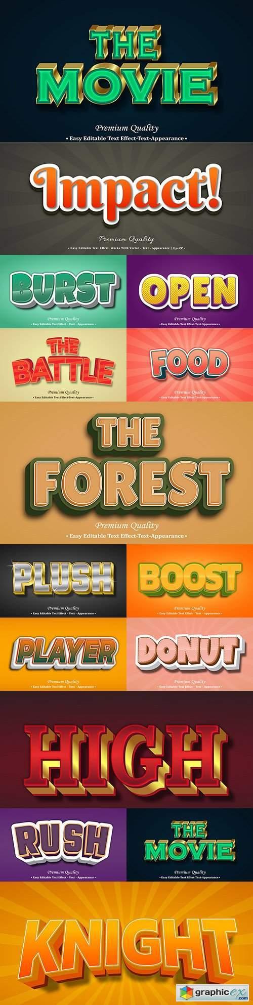 Editable font effect text collection illustration design 152