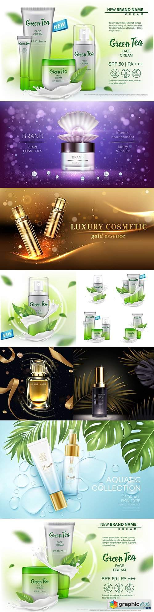 Cosmetic product advertising for magazine packaging design