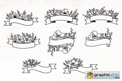 Floral Ribbon Banner Design Elements