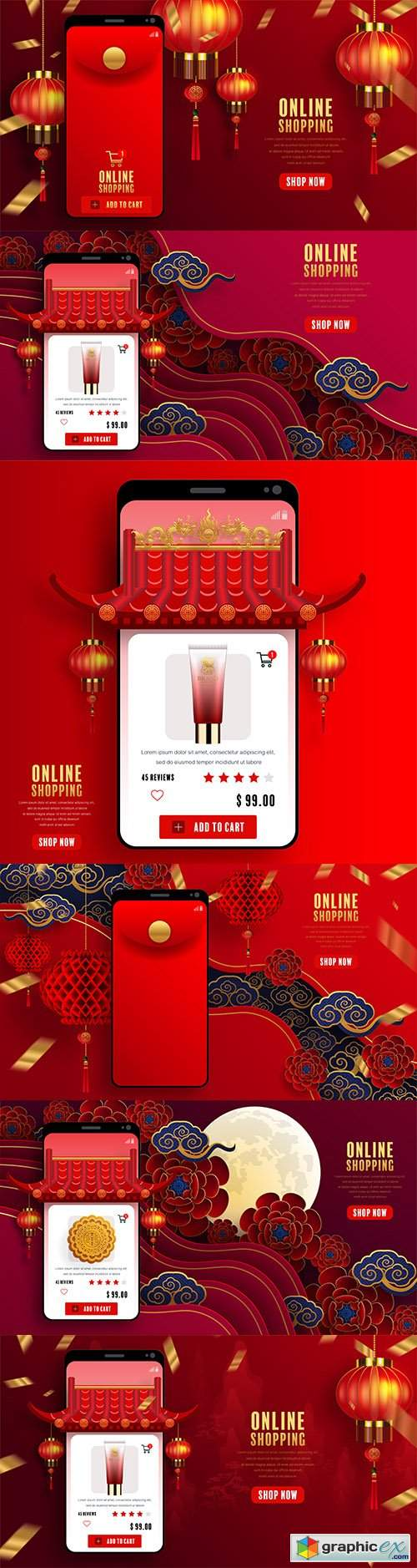 Online digital marketing store in mobile app Chinese background
