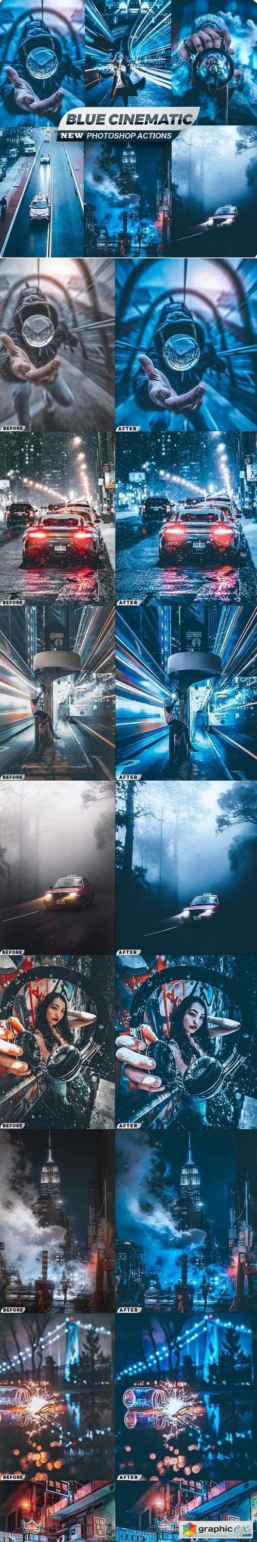 Blue Cinematic City Photoshop Actions