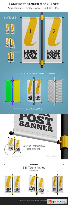 Lamp Post Banner Mockup Set